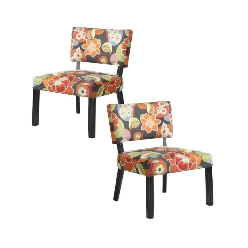 floral print accent chairs lounge chair fabric replacement set of 2 in bright walmart com