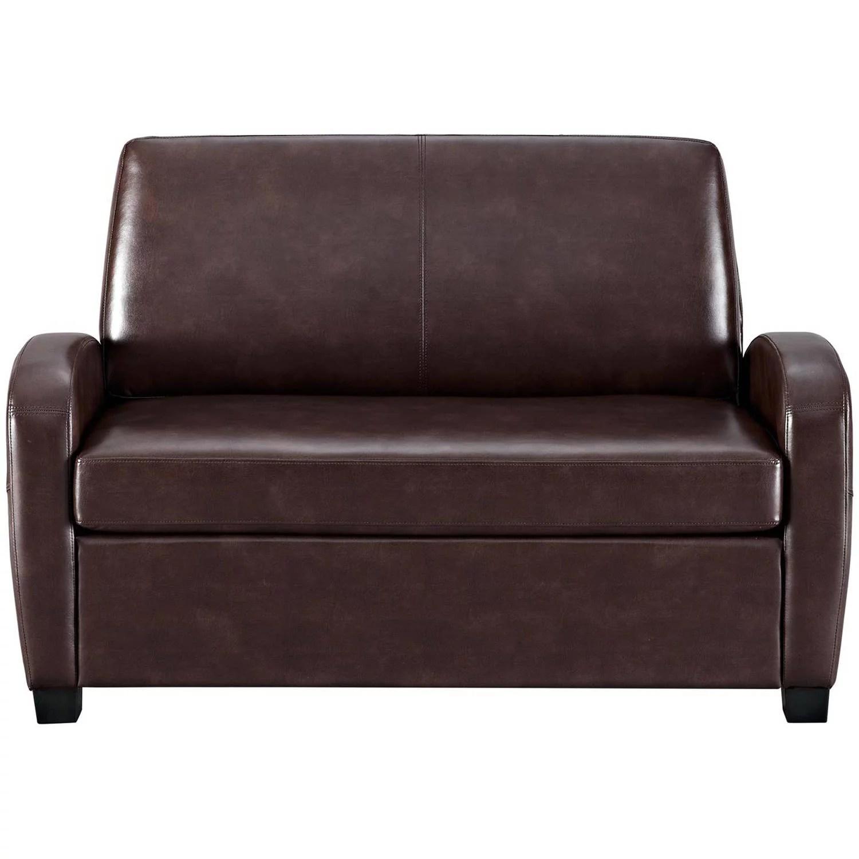 Mainstays 54 Faux Leather Loveseat Sleeper Black Walmart Com
