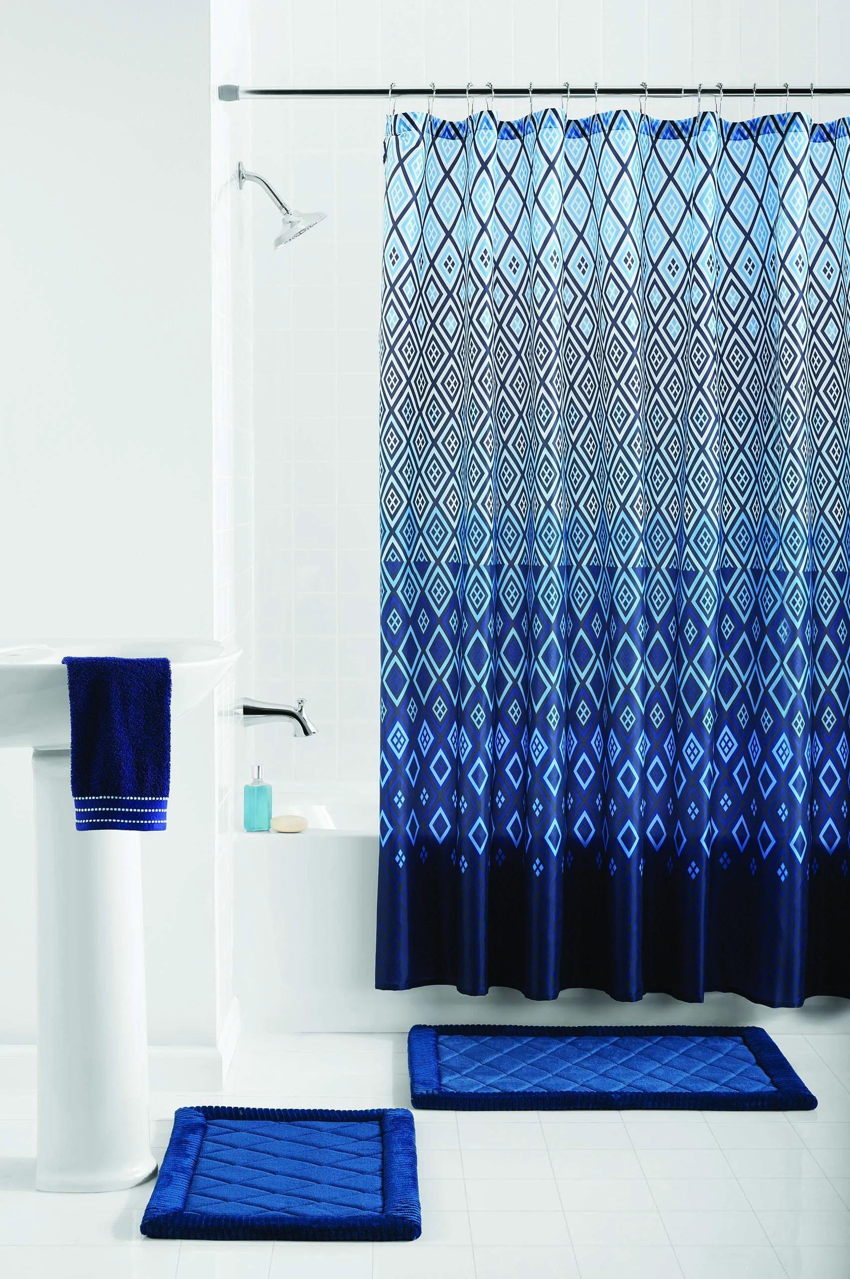 mainstays stockholm geometric 15 piece shower curtain bath set