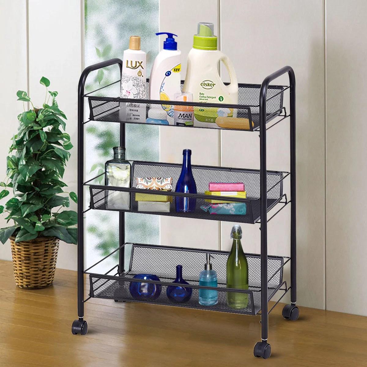 kitchen organizer counter rack 3 tier storage trolley cart home utility qty