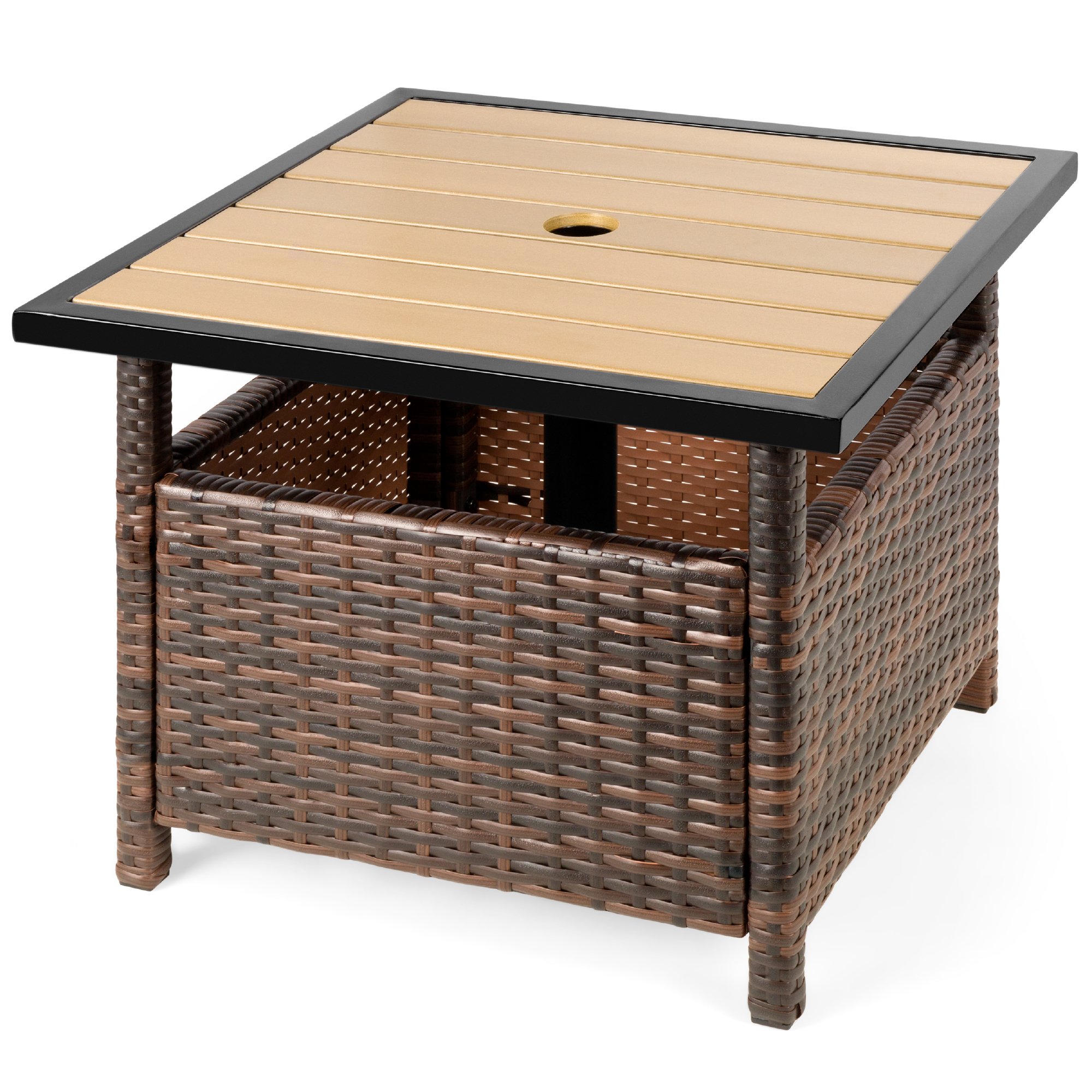 best choice products wicker rattan patio side table outdoor furniture for garden pool deck w umbrella hole brown
