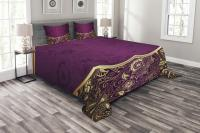 Eastern Bedspread Set, Oriental and Abstract Swirly Floral ...