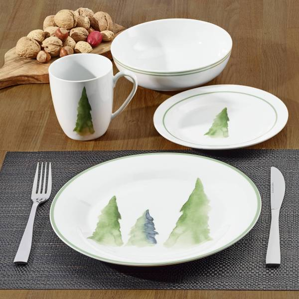 Homes & Gardens Nature Collection Tree Dinnerware Porcelain Set Of 16