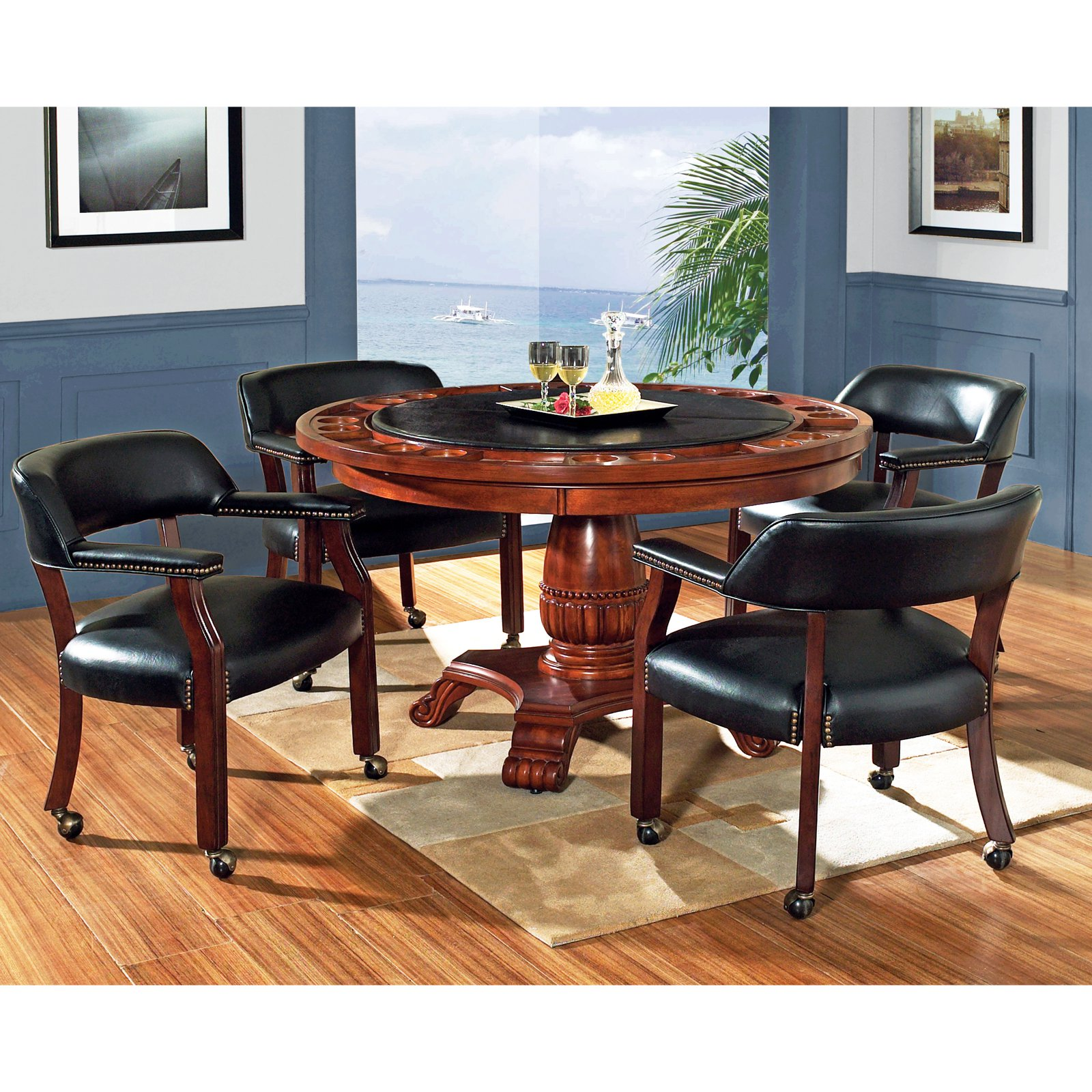 poker table chairs with casters revolving chair steel base steve silver 5 piece tournament dining game set caster cherry walmart com
