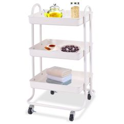 Rolling Kitchen Carts Country Sinks 3 Tier Steel Trolley Cart Storage Serving Qty