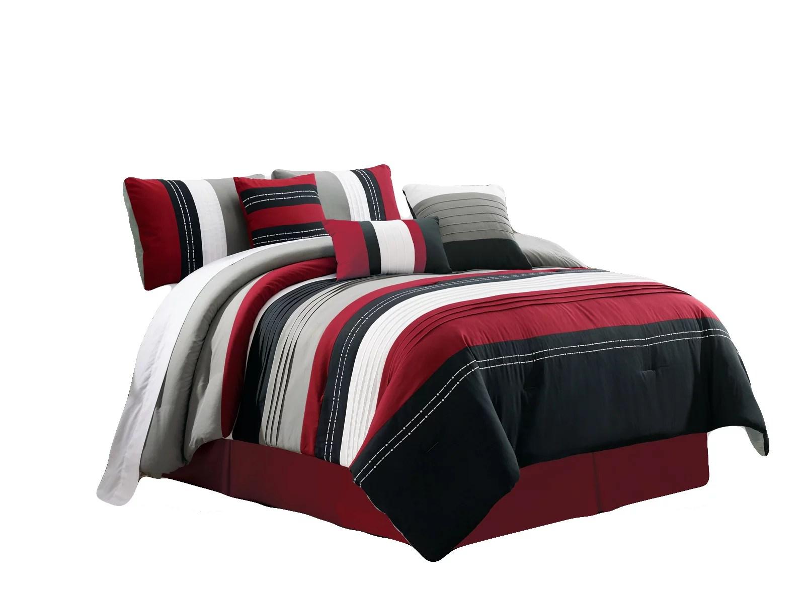 7 pc jordan embroidery pleated stripe lines comforter set burgundy black white gray queen