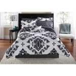 Mainstays Classic Noir 7 8 Piece Bed In A Bag Bedding Comforter Set Twin Twinxl Black Walmart Com Walmart Com