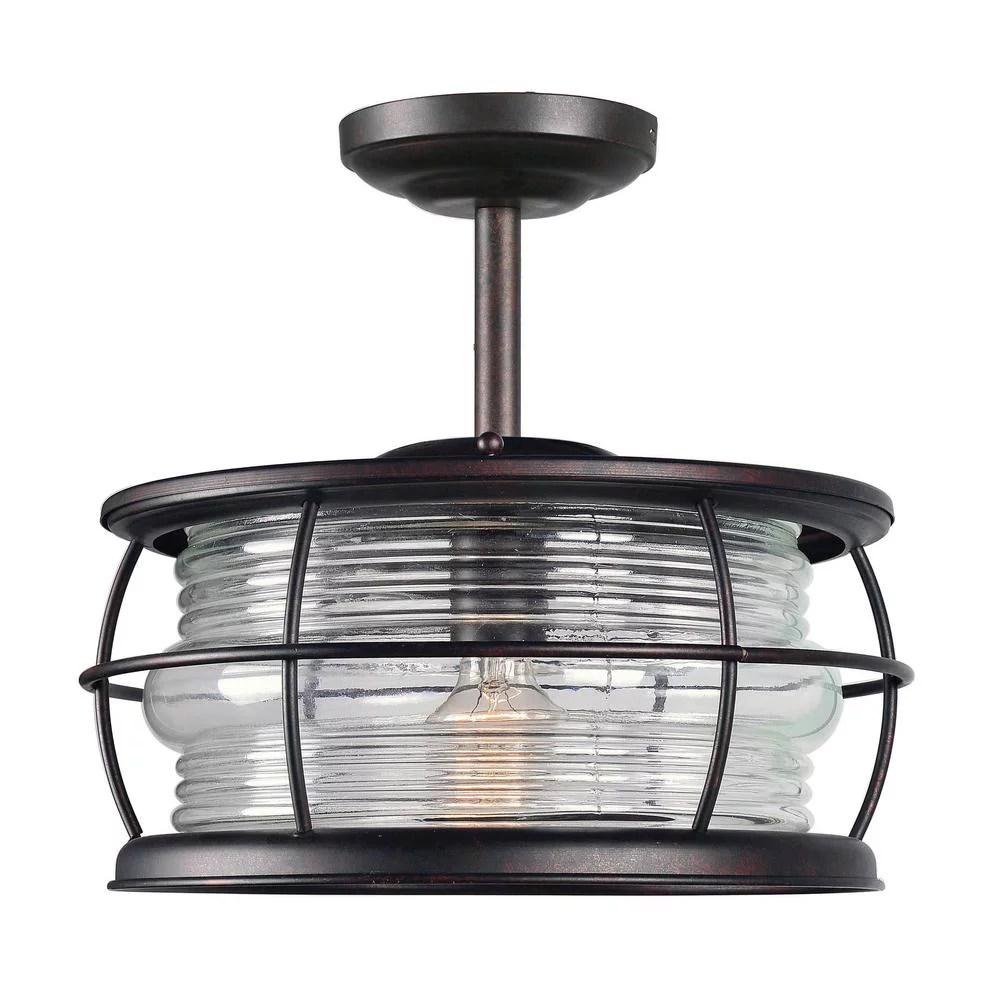kenroy home beacon copper 1 light outdoor semi flushmount new open box walmart com