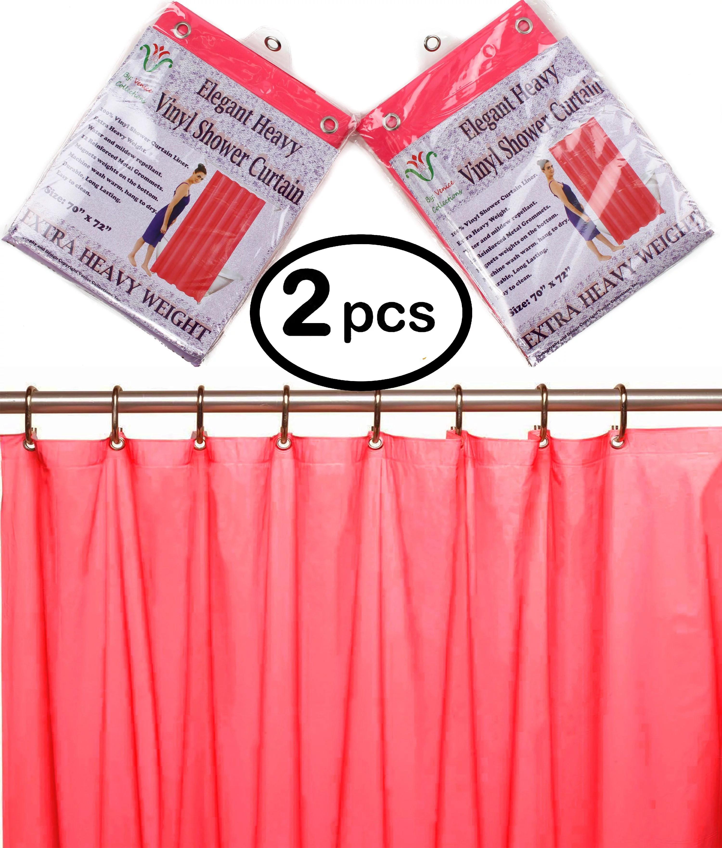 venice elegant home heavy duty vinyl shower curtain liner with 12 metal grommets 2 pack bright pink walmart com walmart com