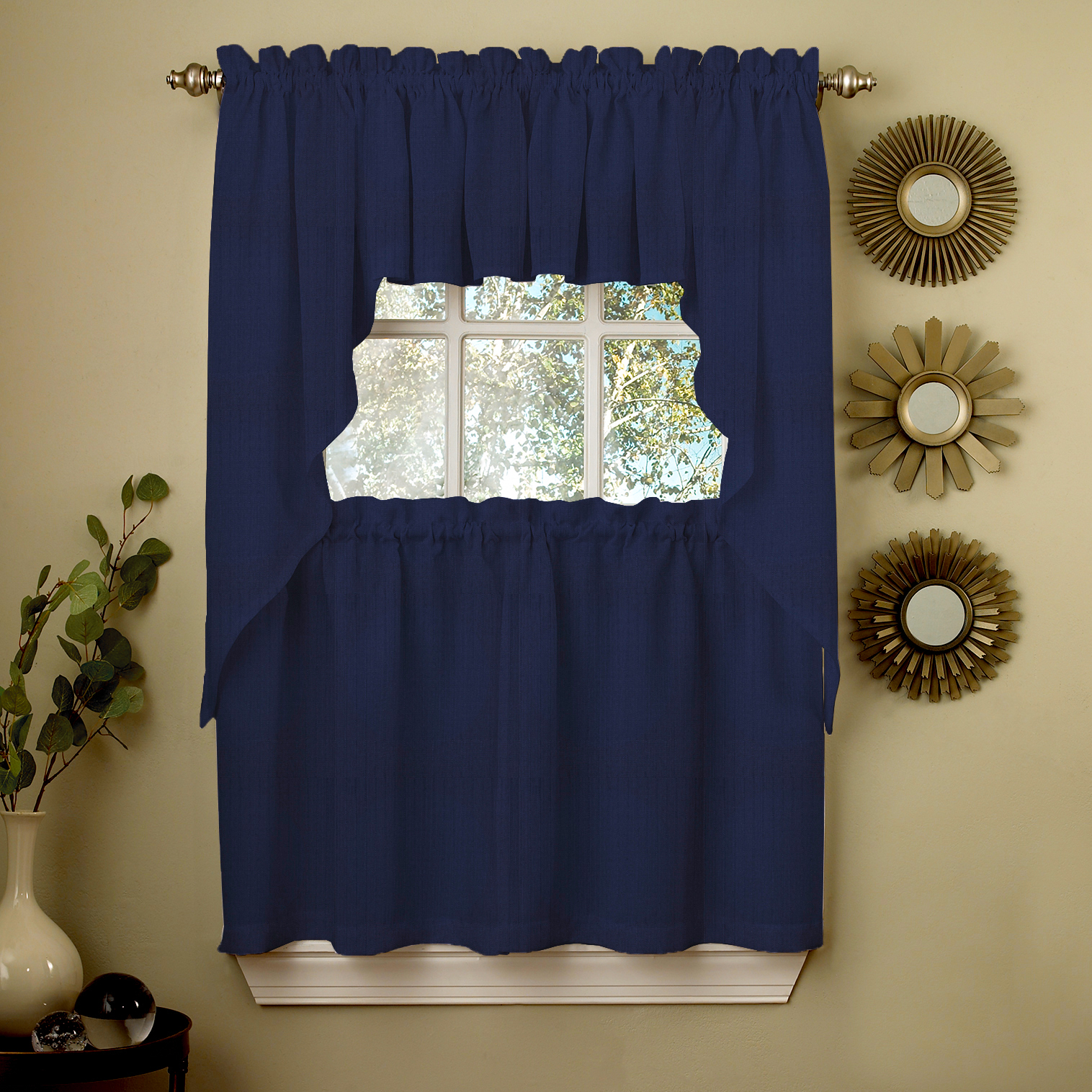 swag kitchen curtains remodeling open living room navy solid opaque ribcord choice of tiers valance or walmart com