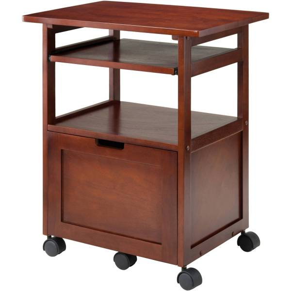 Wood Liso Corner Desk With Shelf Espresso
