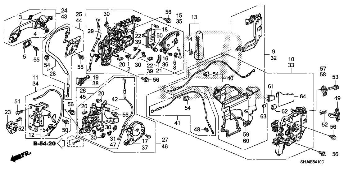 Honda 72650-SHJ-A01 Manual Sliding Door Latch Assembly