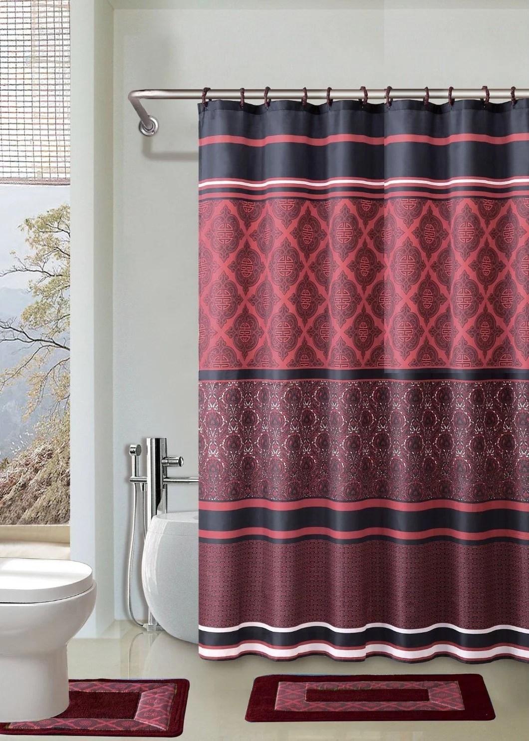 crimson red black 15 piece bathroom accessory set 2 bath mats shower curtain 12 fabric covered rings