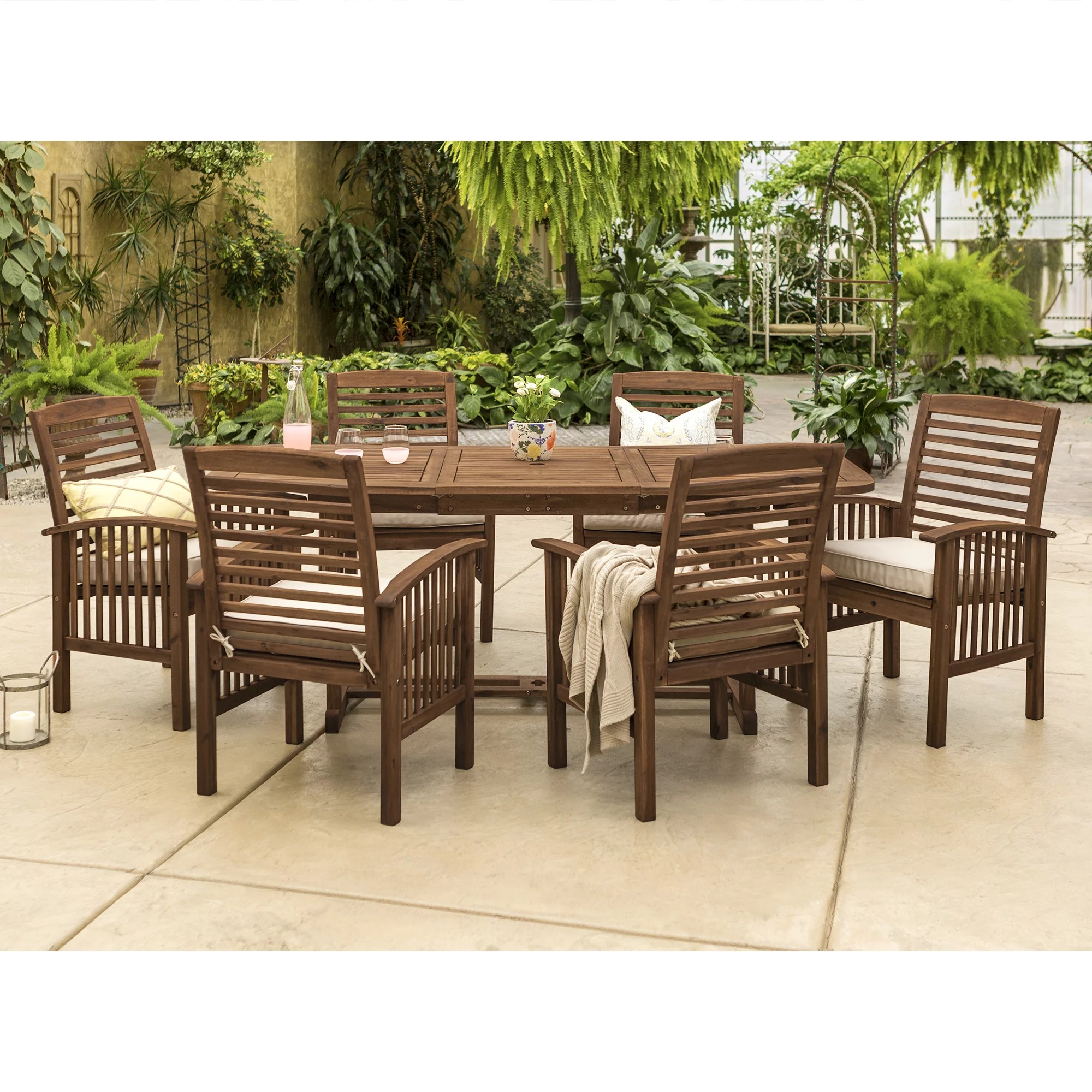 manor park 7 piece solid wood outdoor patio dining set dark brown