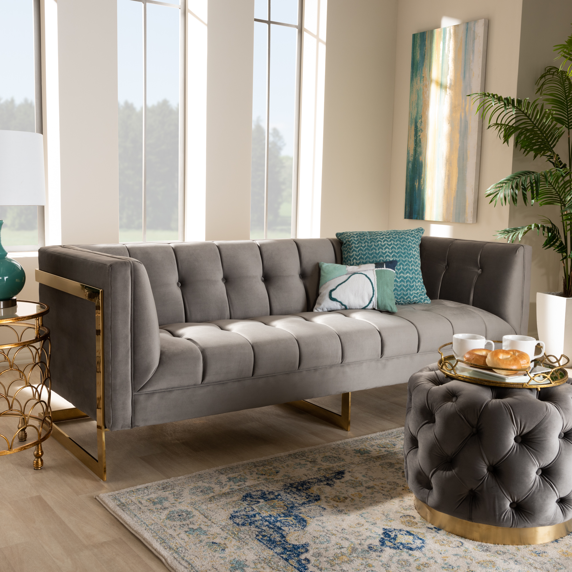 Baxton Studio Ambra Glam And Luxe Grey Velvet Fabric Upholstered And Button Tufted Sofa With Gold Tone Frame Walmart Com Walmart Com