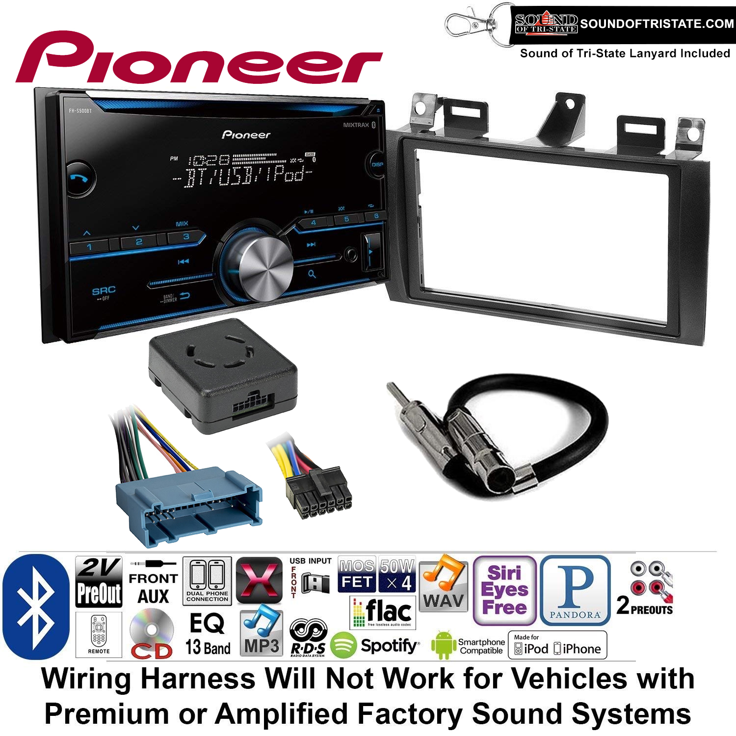hight resolution of pioneer fh s500bt double din radio install kit with cd player bluetooth fits 2000 2005 cadillac deville 1996 2004 seville sound of tri state lanyard