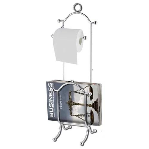 Home Basics Chrome Toilet Paper Holder with Magazine Rack