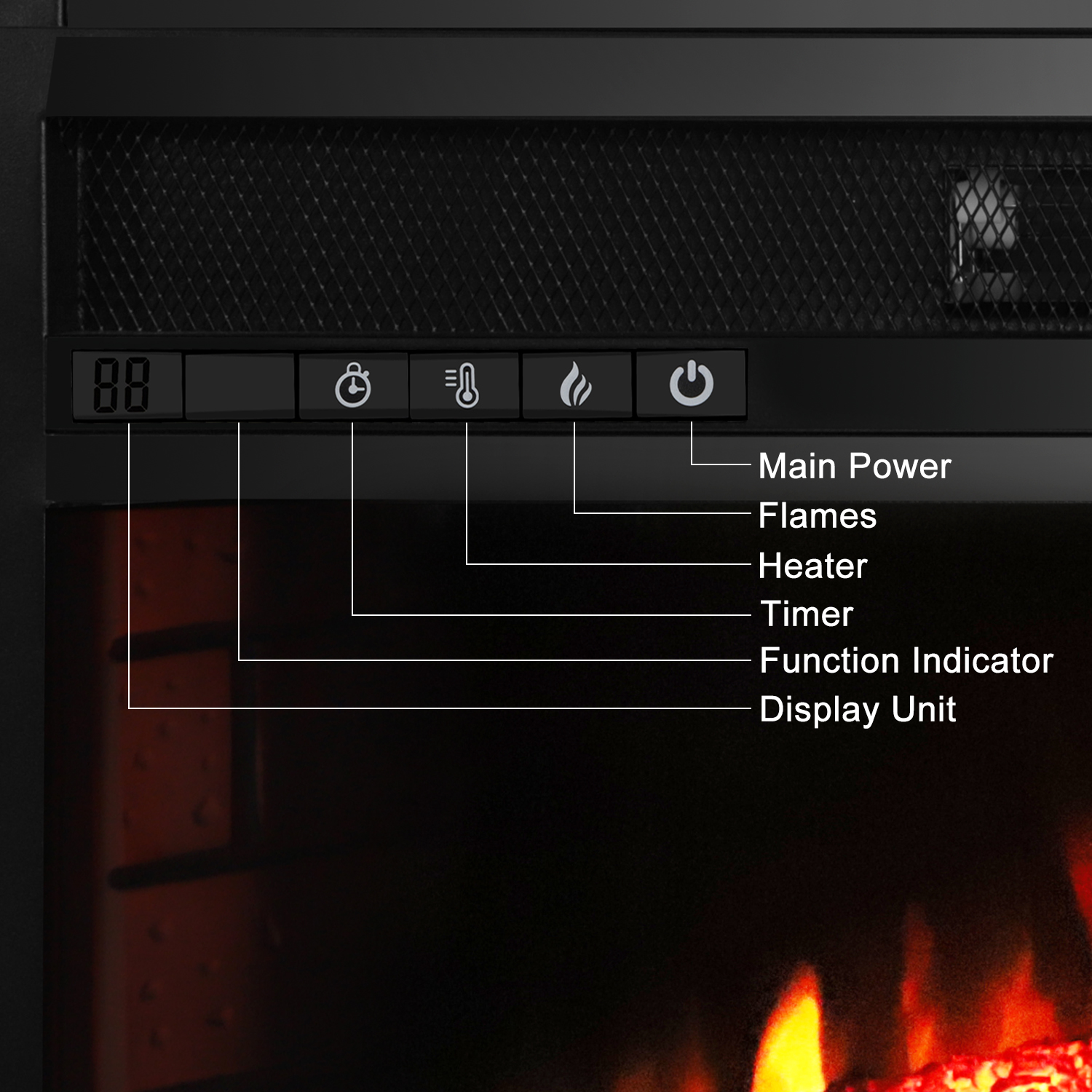 Ktaxon Electric Fireplace Heater With 33 Electric