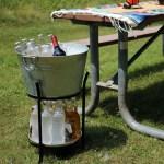 Sunnydaze Pebbled Galvanized Steel Ice Bucket Drink Cooler With Stand And Tray Walmart Com Walmart Com