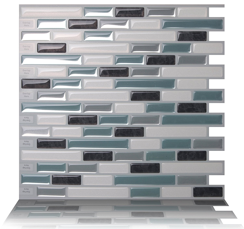 stick on backsplash tiles for kitchen floor cupboards tic tac premium anti mold peel and wall tile in como marrone walmart com
