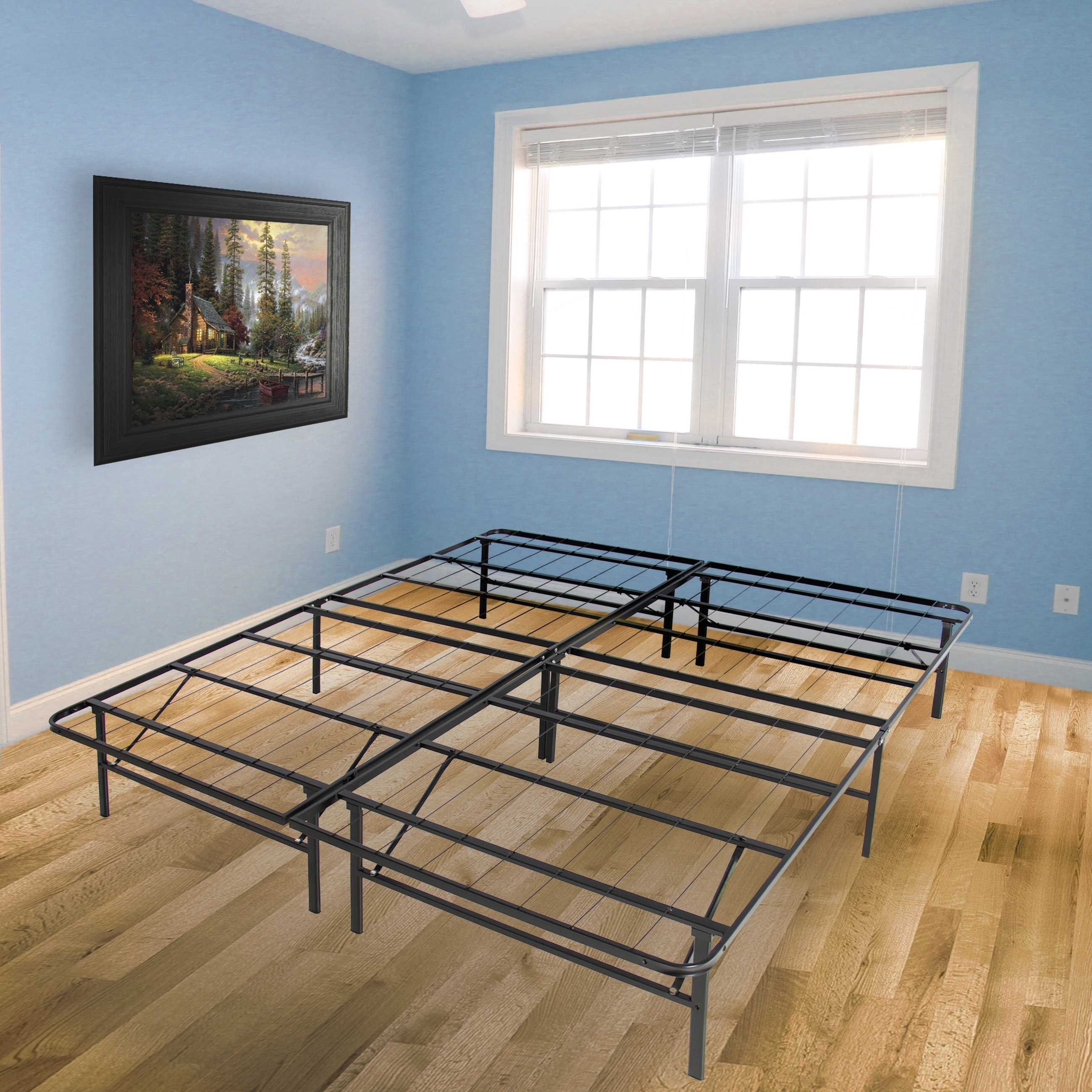 best choice products platform metal bed frame foldable no box spring needed mattress foundation queen walmart com