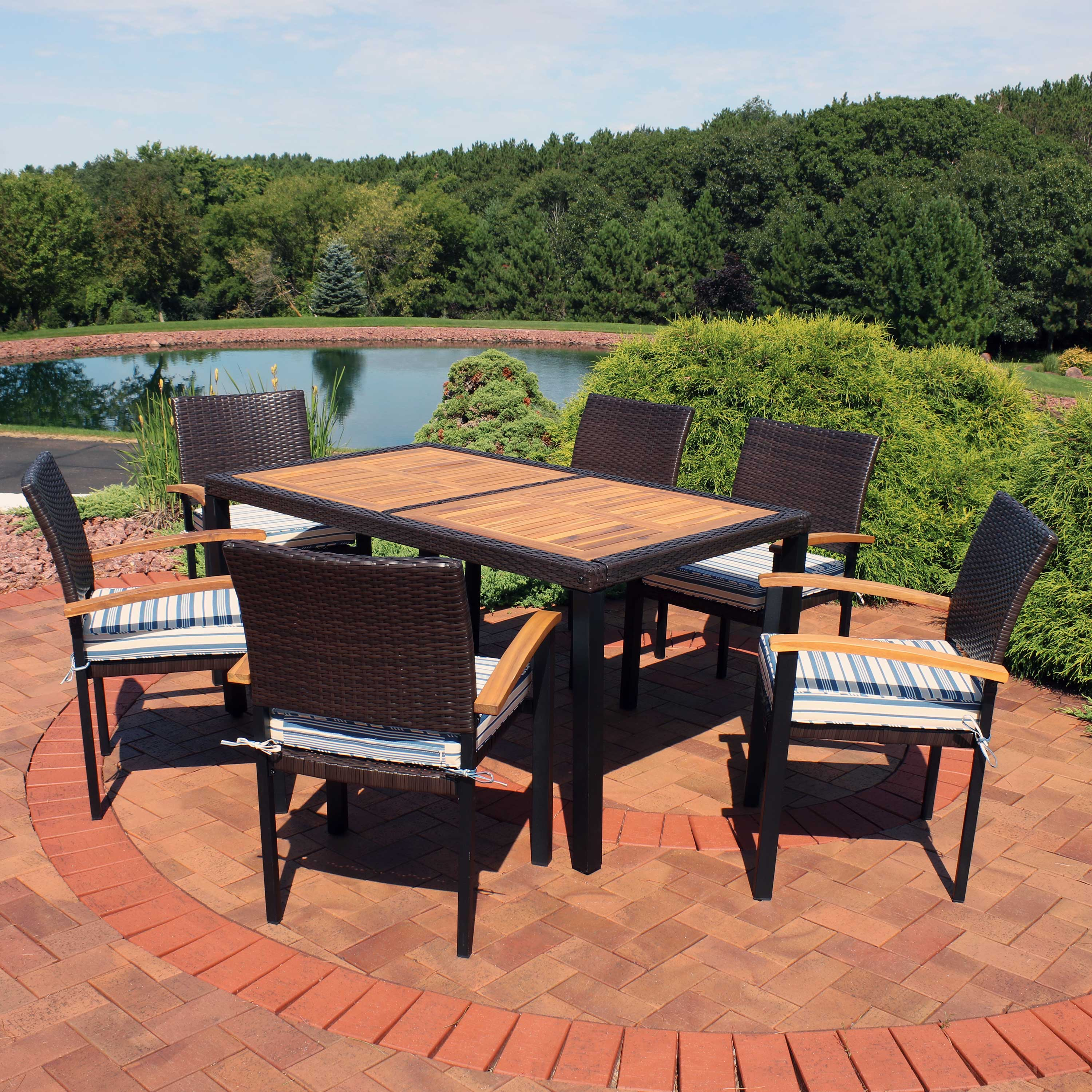 sunnydaze carlow outdoor dining set 7 piece rattan and acacia outside patio furniture 1 table and 6 chairs with thick seat cushions multiple