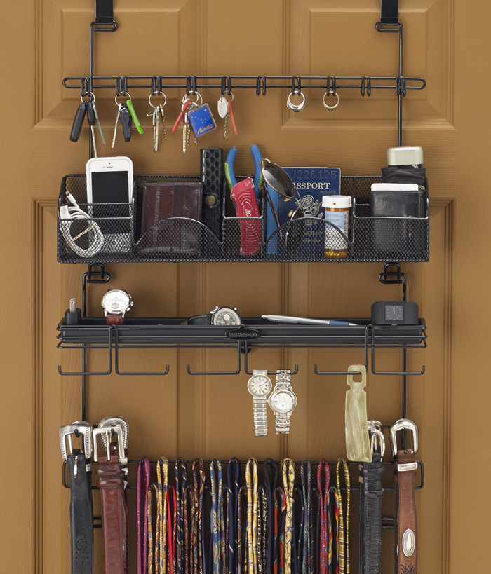 longstem organizer tie belt rack hanging closet valet accessory organizer in black