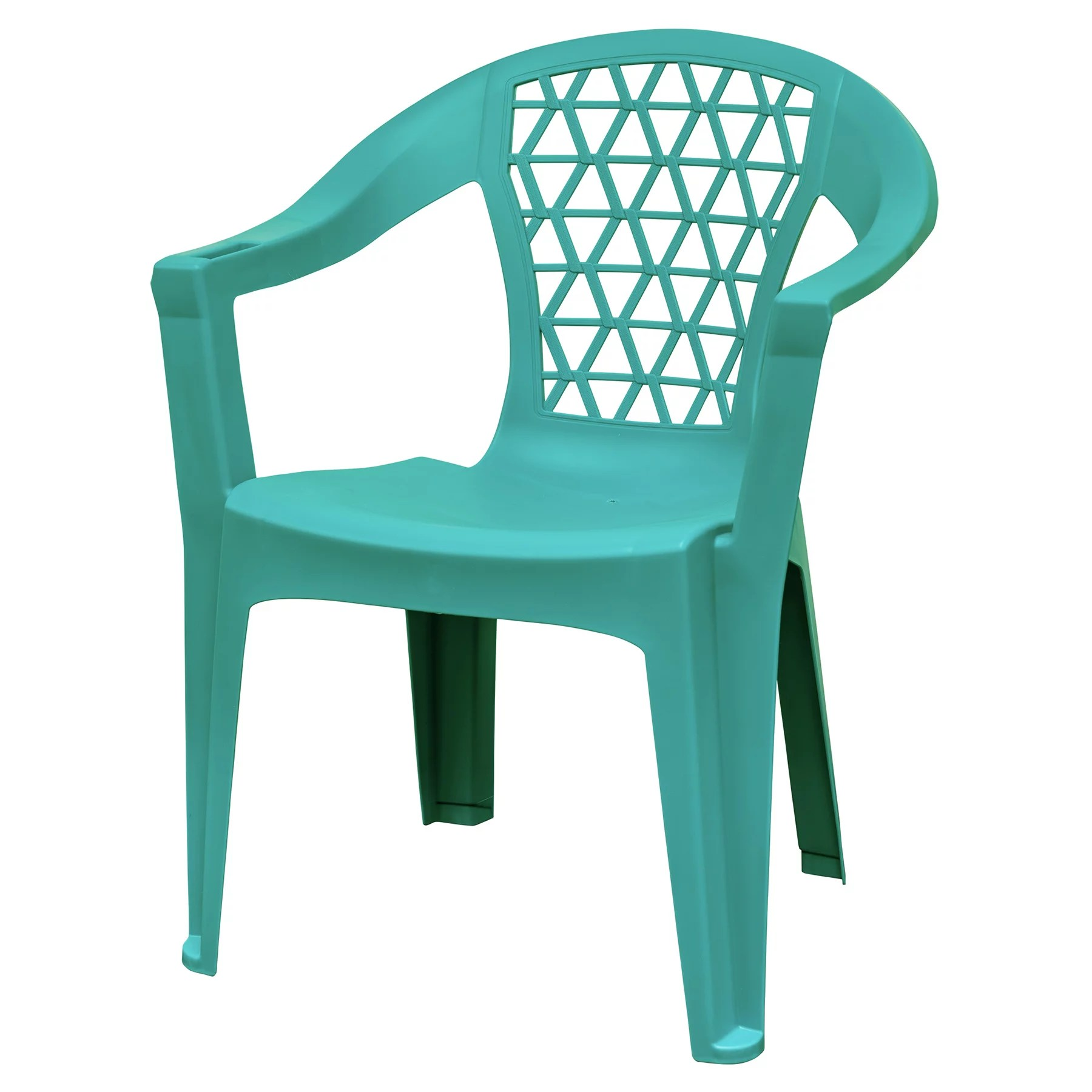 adams penza outdoor resin stack chair with phone holder plastic patio furniture teal walmart com