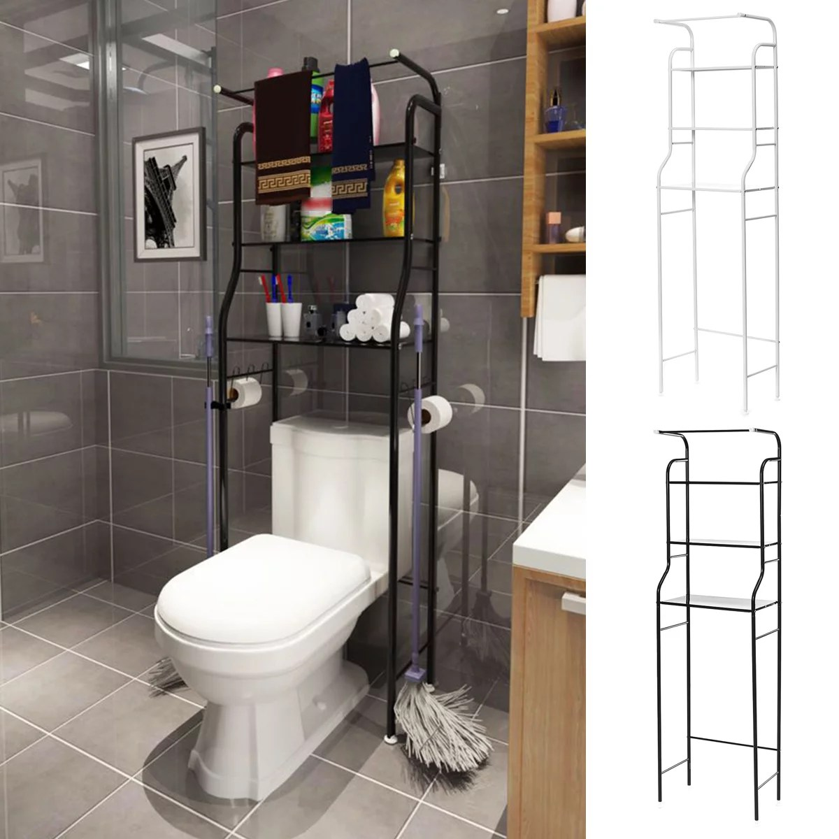 3 tier space saver toilet free standing metal over the toilet storage toilet shelf washing machine rack for home and bathroom