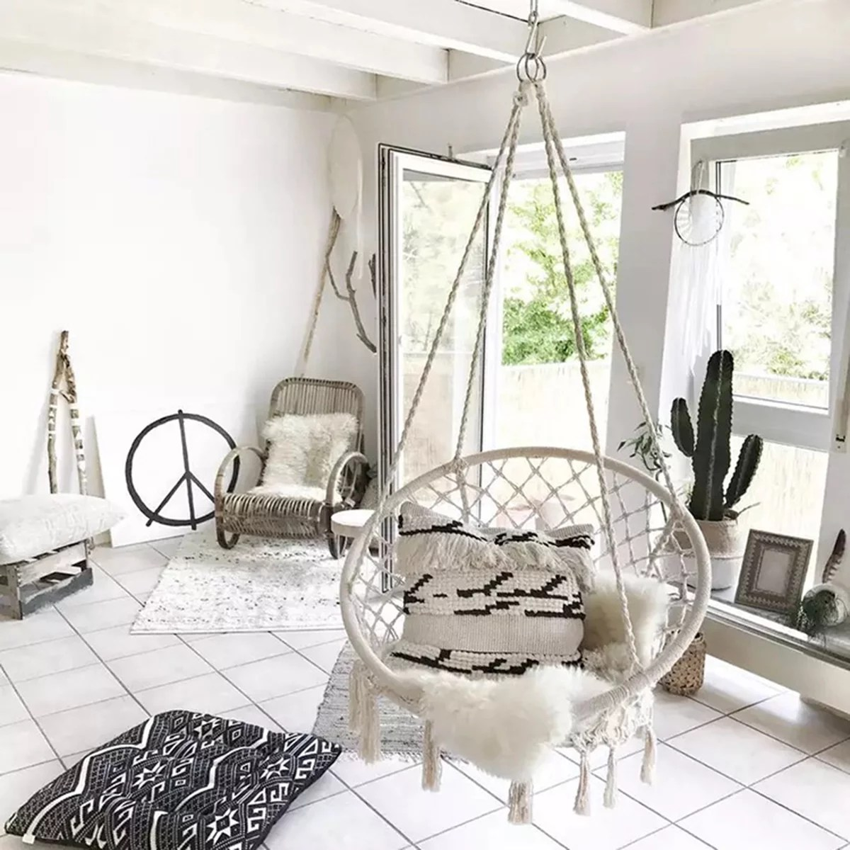 bedroom hanging chair posture care company prices outdoor chairs walmart com product image 47 2 indoor macrame hammock swing cotton rope garden 260lb