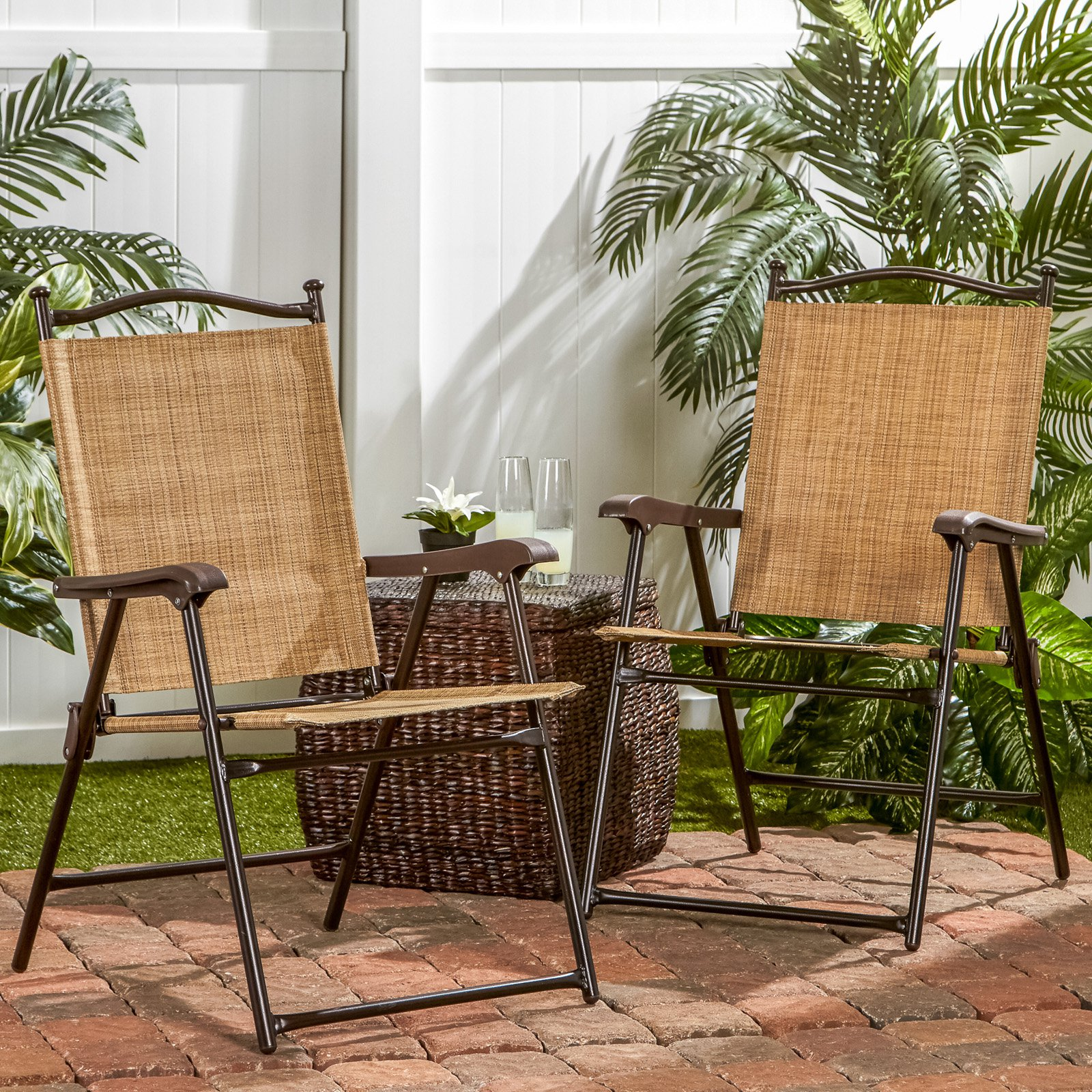 sling back patio chairs staples office chair with neck support black outdoor bamboo set of 2 walmart com
