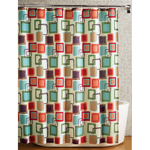 Hometrends Squares Fabric Printed Shower Curtain Multicolored