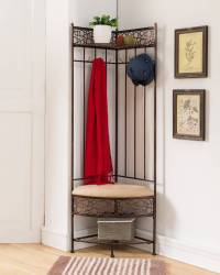 Copper Metal Corner Entryway Hallway Storage Bench Hall