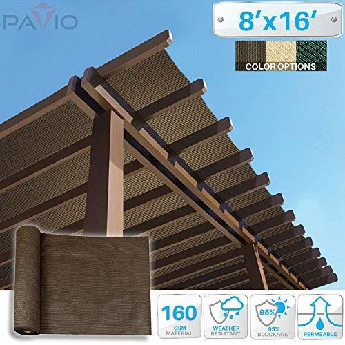 patio paradise 8 x16 sunblock shade cloth roll brown sun shade fabric 95 uv resistant mesh netting cover for