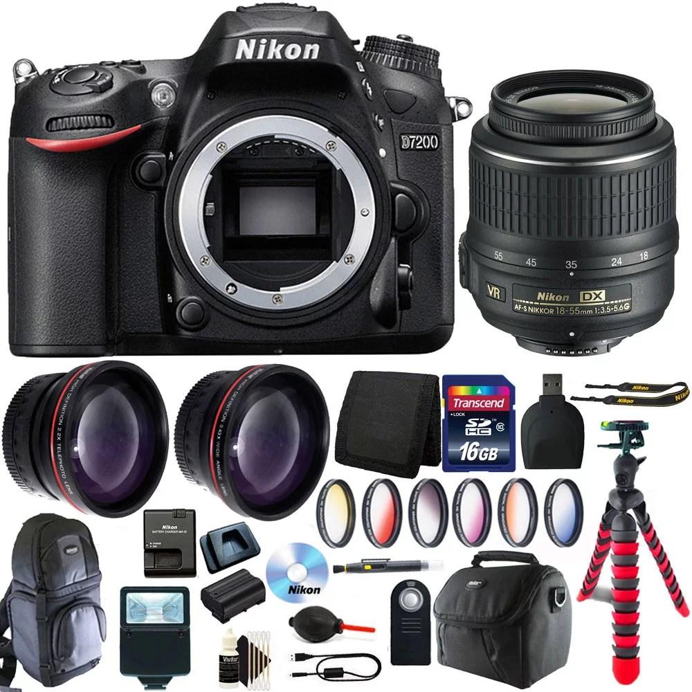 Nikon D7200 16.2 MP Digital SLR Camera + 18-55mm Lens with 16GB Accessory Bundle - Walmart.com