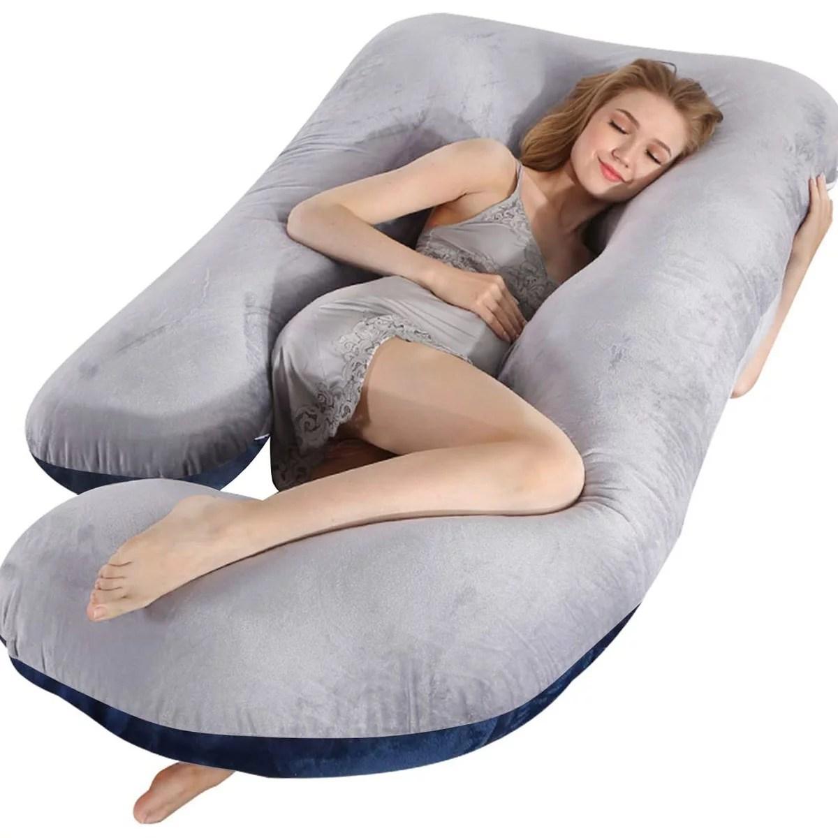 large pregnancy pillow with velvet cover j shaped body pillow full body maternity pillow