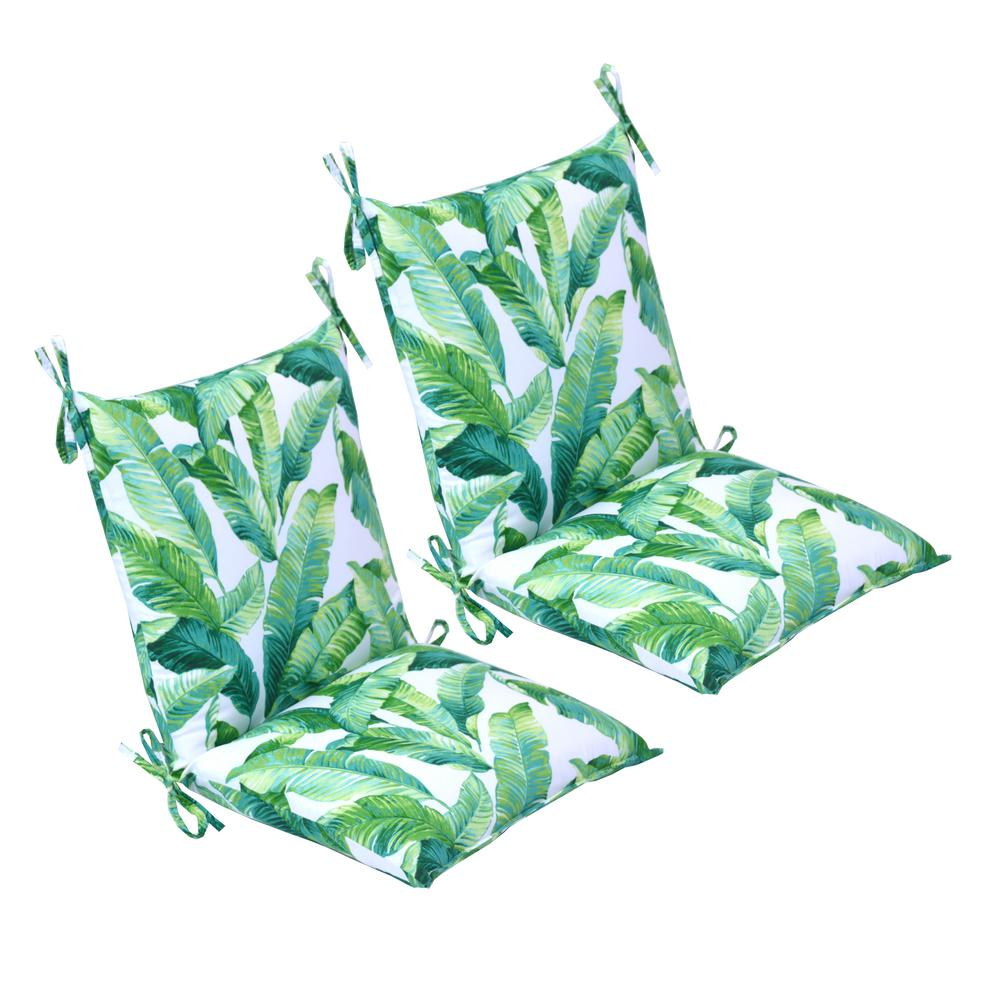 20 in x 37 in hanalei outdoor mid back dining chair cushion 2 pack walmart com