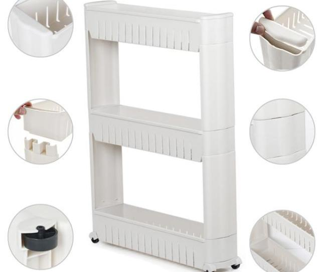 3 Tiers Mobile Shelving Unit Slim Slide Out Storage Tower Pull Out Pantry Shelves Cart
