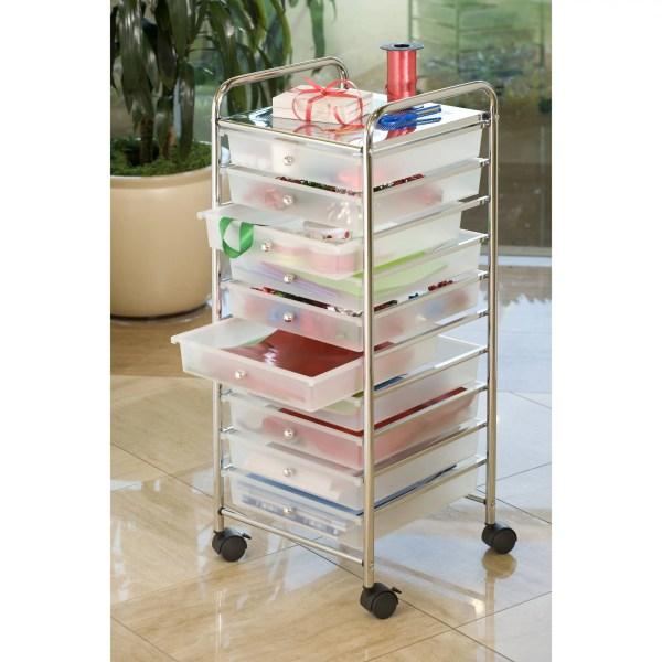 She16210b 10-drawer Seville Classics Large Storage Organizer Rolling Cart White 691060269522