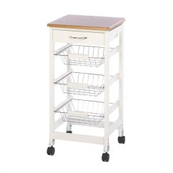 Portable Kitchen Cart L Shaped Table Trolley Storage Organizer Mobile