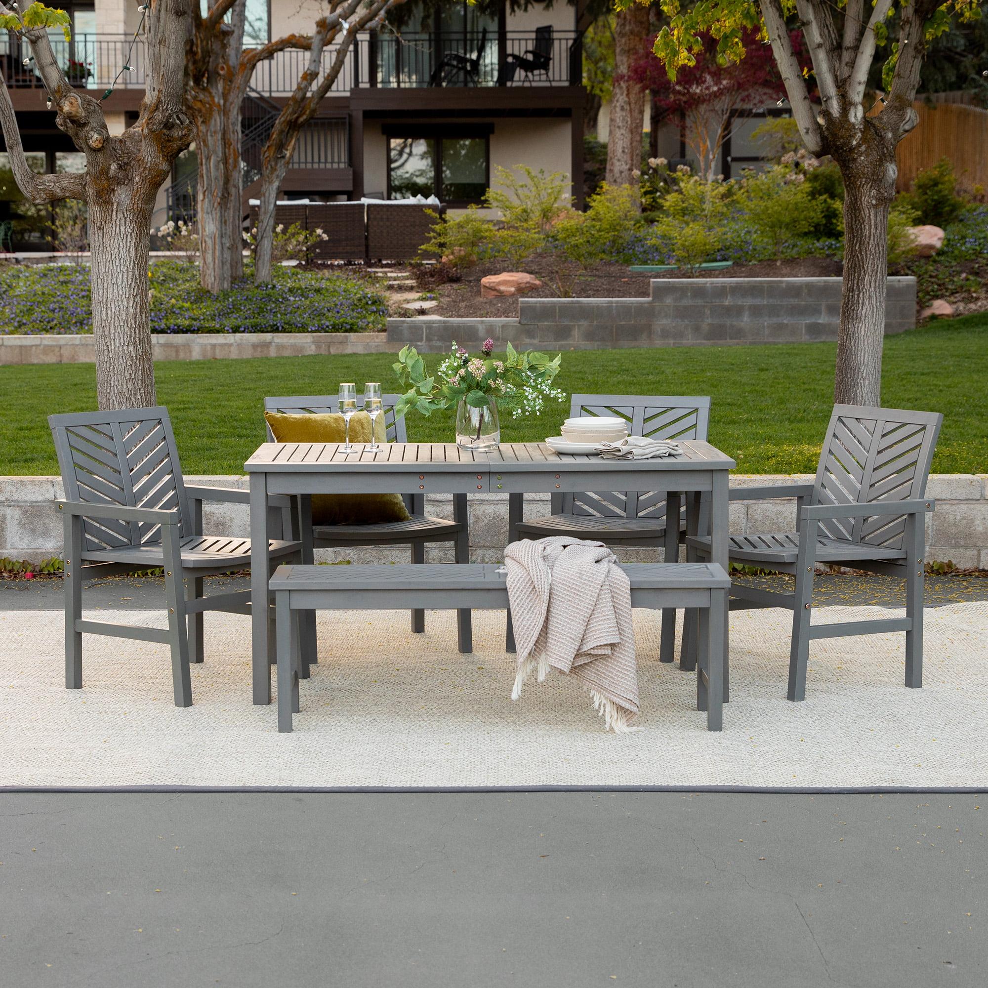 manor park 6 piece chevron outdoor patio dining set grey wash