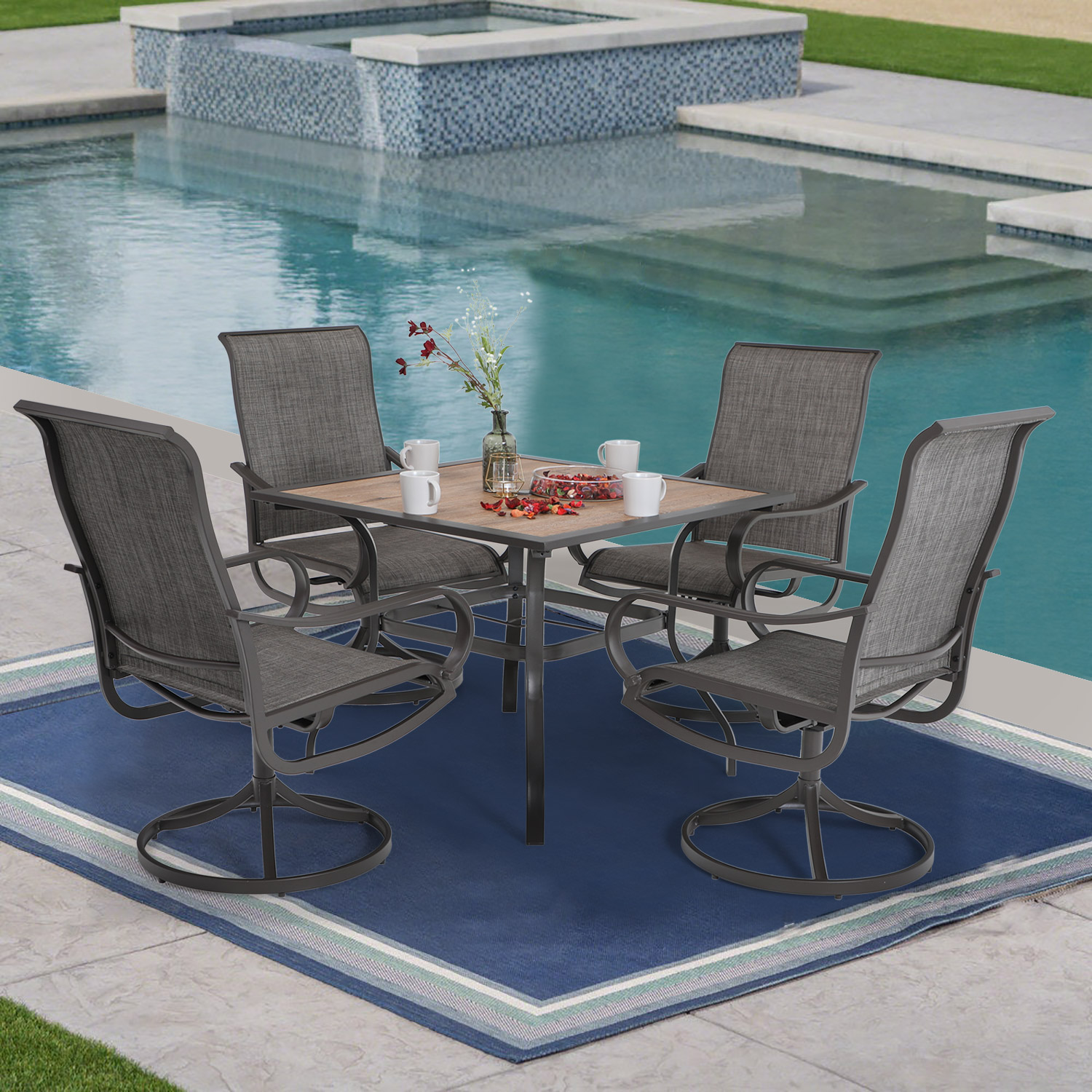 mf studio 5pcs patio dining set 1 square 37 x 37 umbrella table and 4 swivel chairs furniture set suitable for backyard garden patio