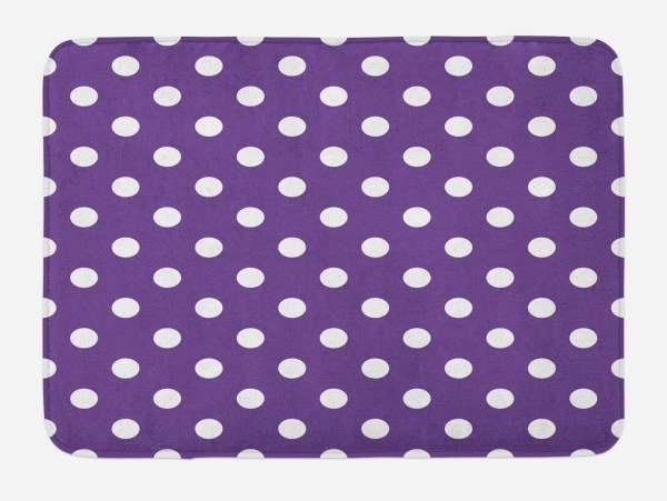 Eggplant Bath Mat Polish White Orderly Polka Dots And