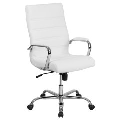 White Leather Swivel Desk Chair The Salon And Spa Harrington De Flash Furniture High Back Executive Office With Chrome Arms