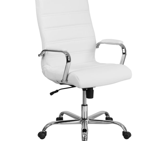 Flash Furniture High Back White Leather Executive Swivel Office Chair With Chrome Arms Image 1 Of