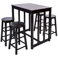 Merax 5-piece Dining Table Set High/Pub Table Set with 4 ...
