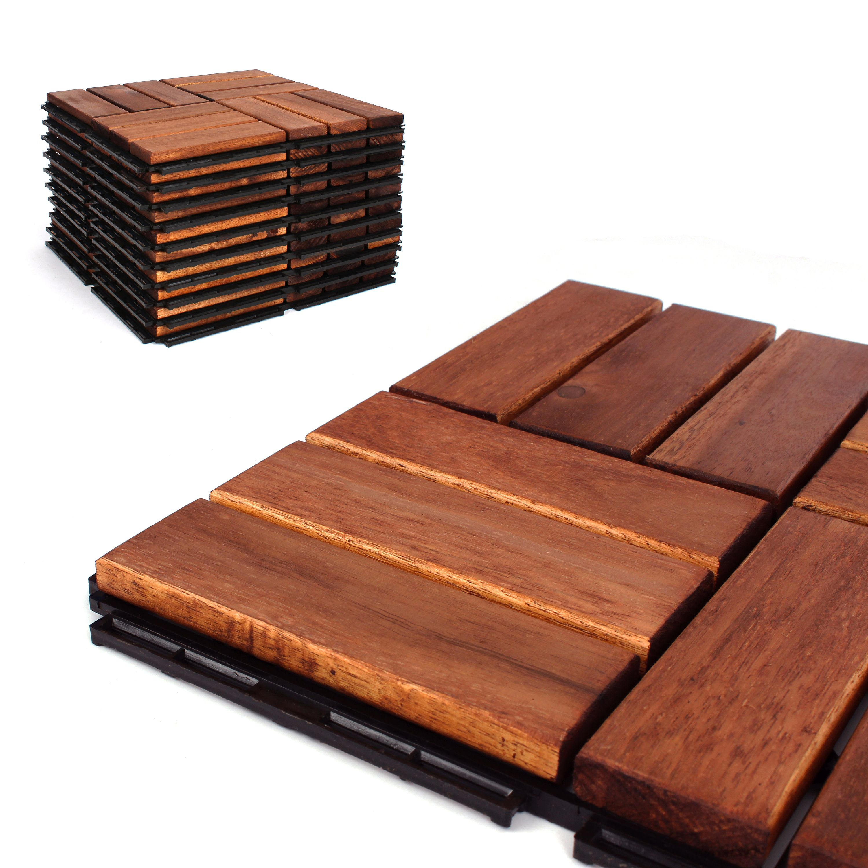 deck tiles patio pavers acacia wood outdoor flooring interlocking patio tiles 12 x12 6 pack oiled acacia finish checker pattern decking