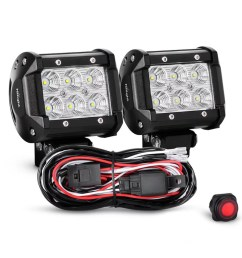 nilight 2pcs 4 inch 18w flood led light bars led work lights led fog lights off road driving lights with off road wiring harness 2 years warranty  [ 1001 x 1001 Pixel ]