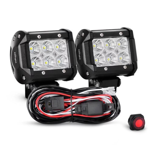 small resolution of nilight 2pcs 4 inch 18w flood led light bars led work lights led fog lights off road driving lights with off road wiring harness 2 years warranty