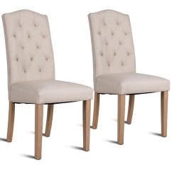 Upholstered Dining Chairs With Oak Legs Chair Knee Stool Costway Set Of 2 Fabric